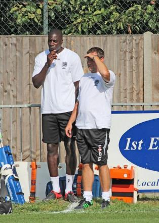 Brains trust: Managers Darren Powell, left, and Paul Barry think about the Hampton & Richmond Borough future