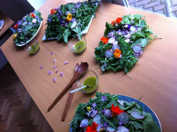 A Growhampton salad made from just grown leafy greens topped with sliced radish and edible flowers - all grown on our edible campus at the University of Roehampton.