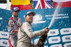 Cheers: Sam Bird celebrates his Formula E win in front of his home fans at Battersea Park