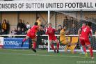 Improvisation: Craig McAllister pulls off a fine goal in Sutton United's win over Havant & Waterlooville