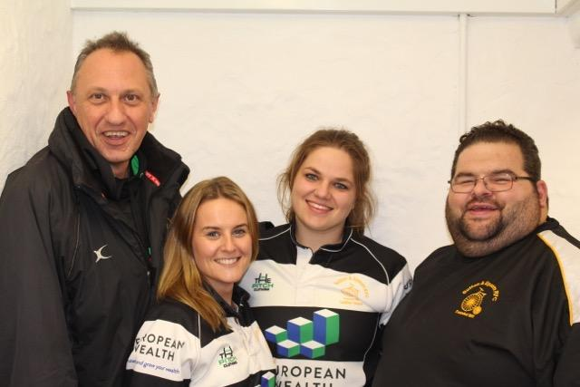 Friendly faces (left to right): Sutton & Epsom ladies manager and coach Paul Phillips, captain Katie Neilson, vice-captain Lauren Morton and head coach Mark Pumba Felstead