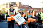 Junior doctors protest outside St George's Hospital in Tooting