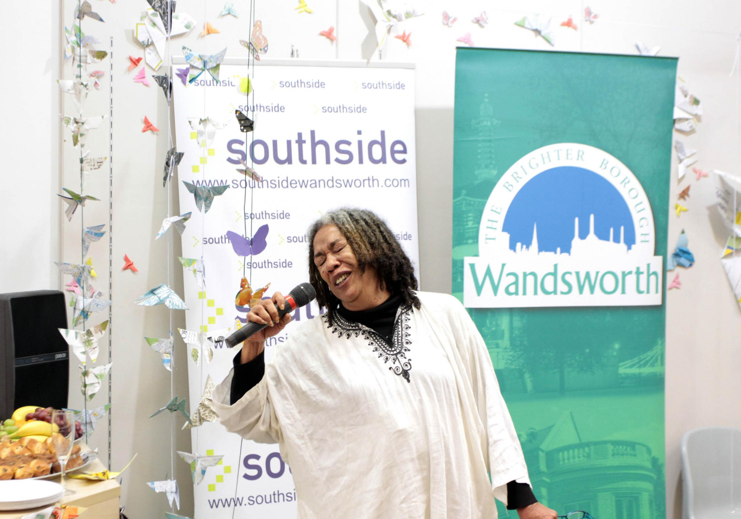 Poet Jean 'Binta' Breeze reading 'Meandering through Wandsworth' at a previous fringe festival