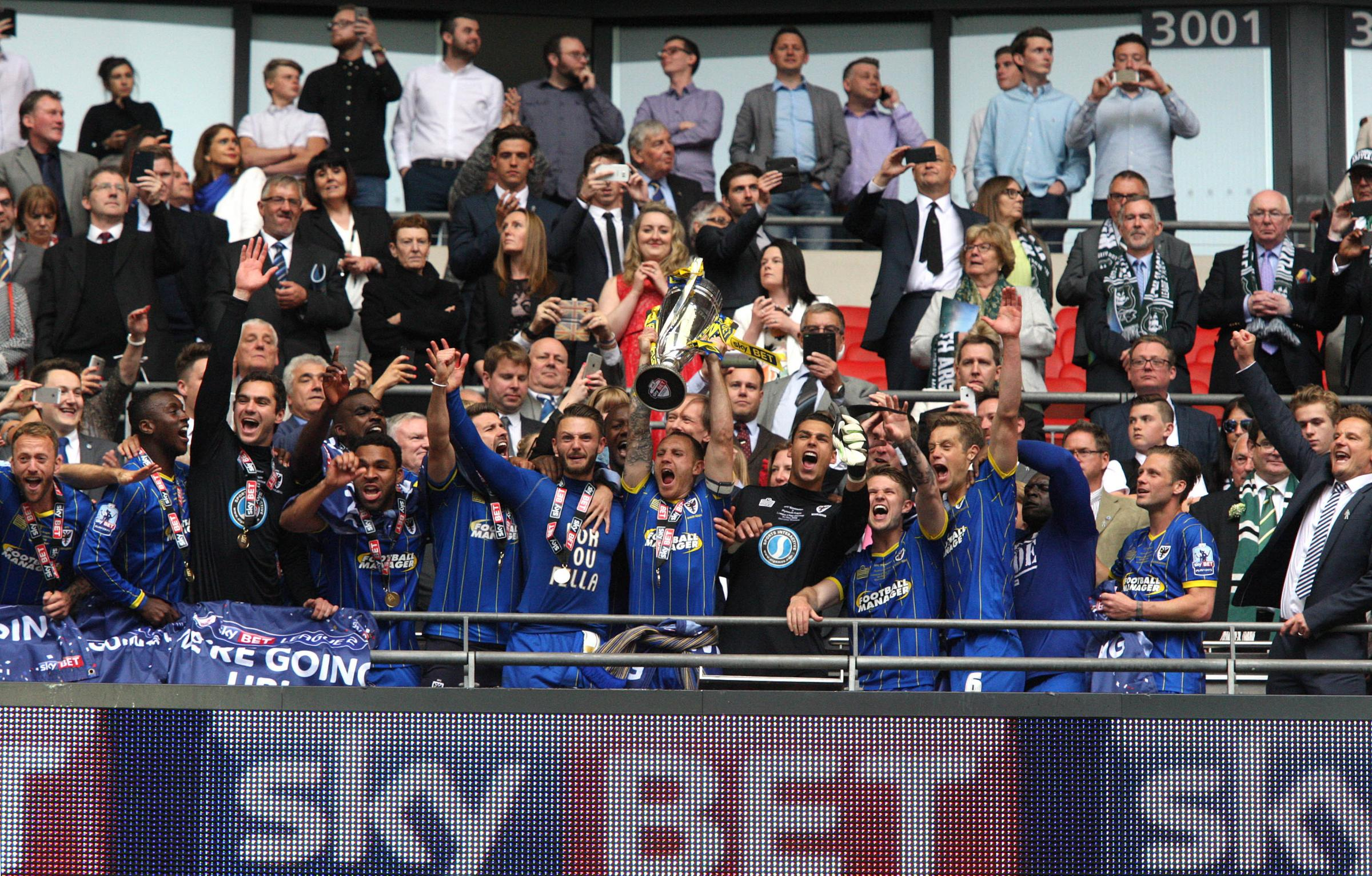 Happy days: AFC Wimbledon - the League Two play-off champions