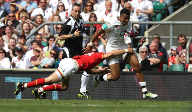 Try-man: Anthony Watson bags his try in England's win over Wales at Twickenham on Sunday             Picture: Getty Images