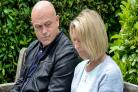 Grieving Grant Mitchell returns and is comforted by Kathy Beale after Peggy's death in EastEnders