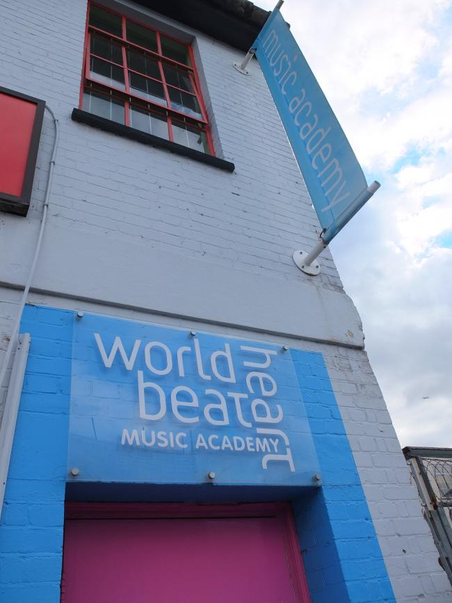 Entrance to world heartbeat academy, Wandsworth