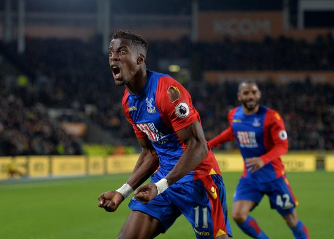 Crystal Palace's Wilfried Zaha celebrates after scoring against Hull in the Premier League. Photo: Anna Gowthorpe/PA
