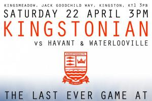 The cover of the programme for Kingstonian's last ever game at Kingsmeadow