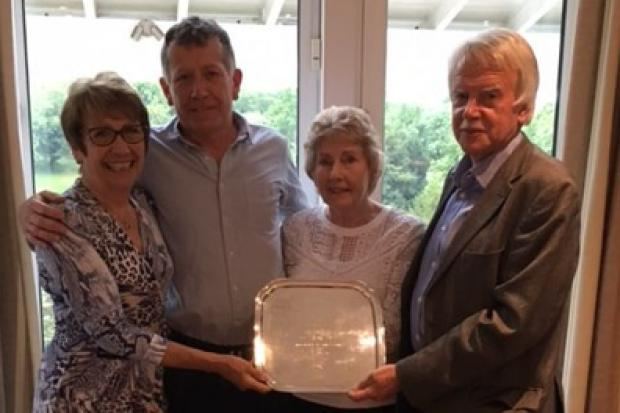 Purley Downs' lady captain Frances Wood, Stephen Ludlam, Marion Ludlam and Purley Downs' men's captain Keith Pitts