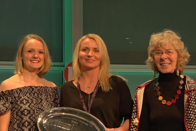 MOMMI's Bethany Swain and Karolina Obrzut (left and centre) with awards director Michelle Berriedale-Johnson