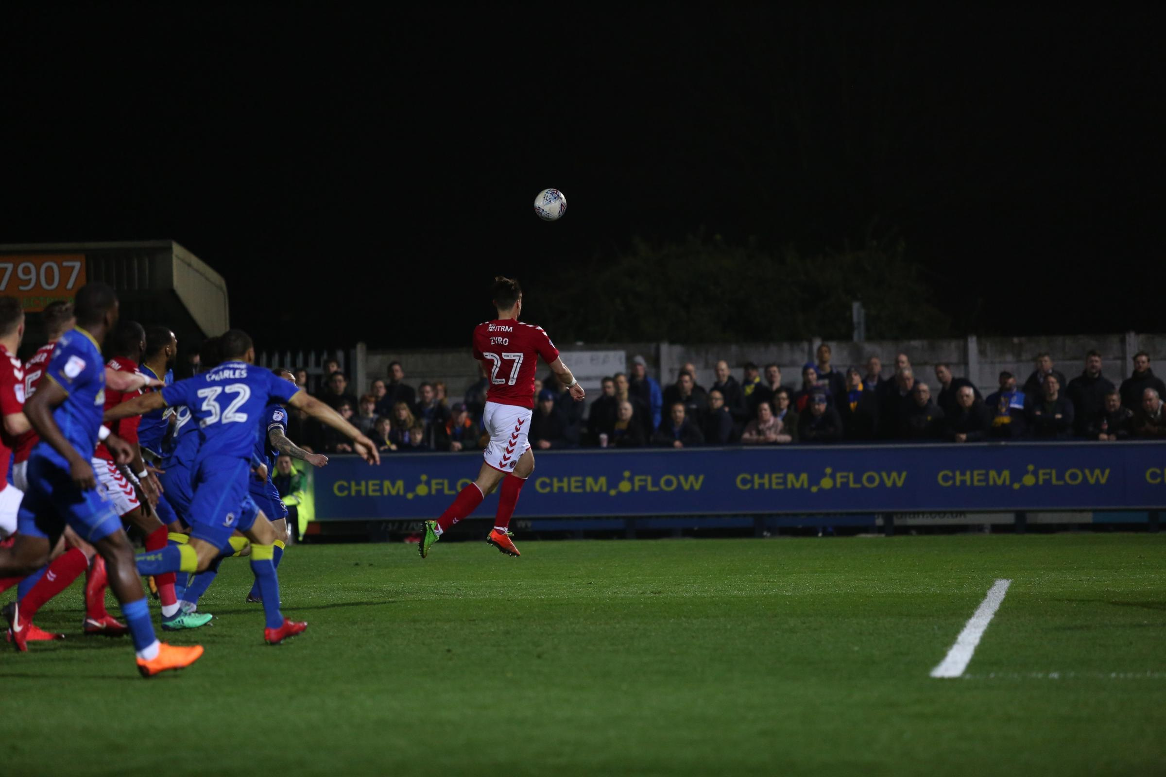 Charlton's Michal Zyro goes up for a header. Photo: Tom West Photography