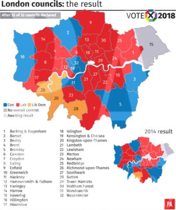 Map Of Uk Councils.London Political Map After 2018 Councils Election Wandsworth Times