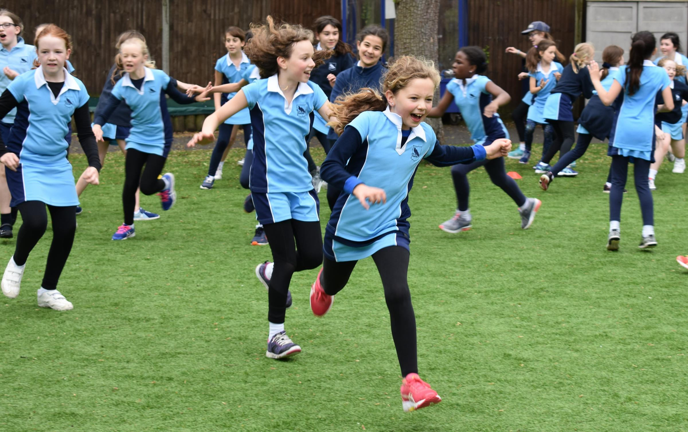 Pupils at Falcons School for Girls taking part in rugby workshop