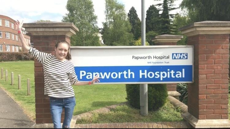 Pippa Kent leaving Papworth Hospital after the transplant in April 2017