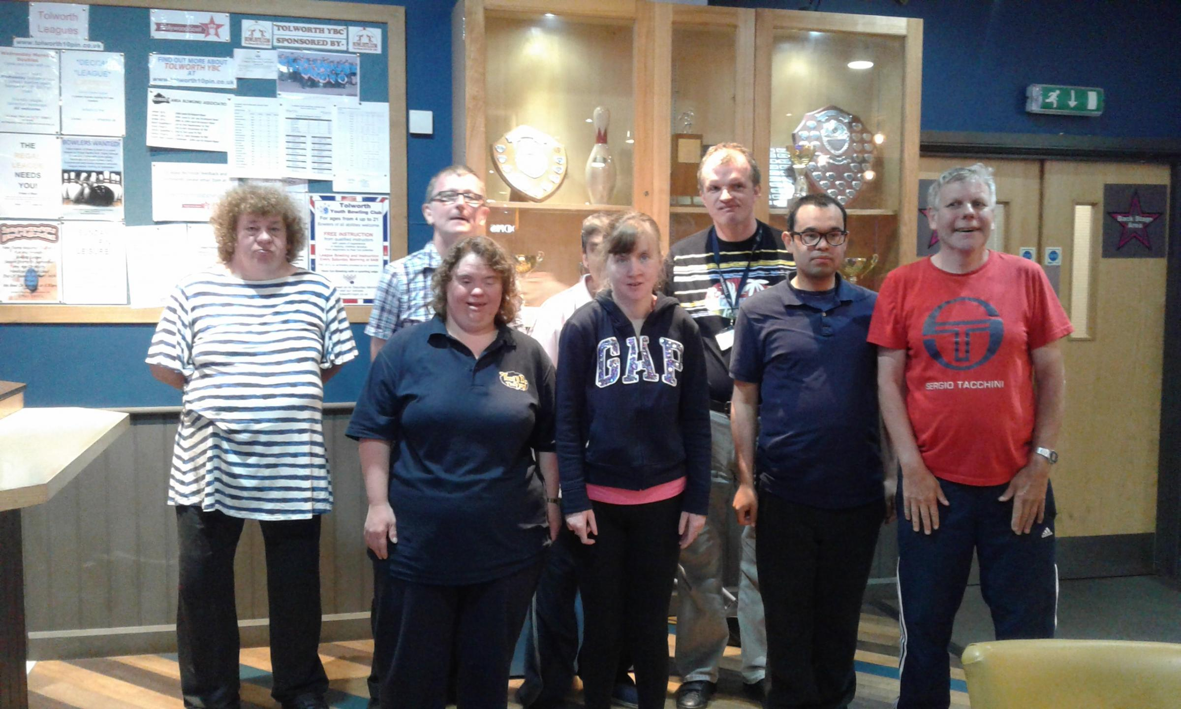 Members of the special Olympic team at Hollywood Bowl Tolworth