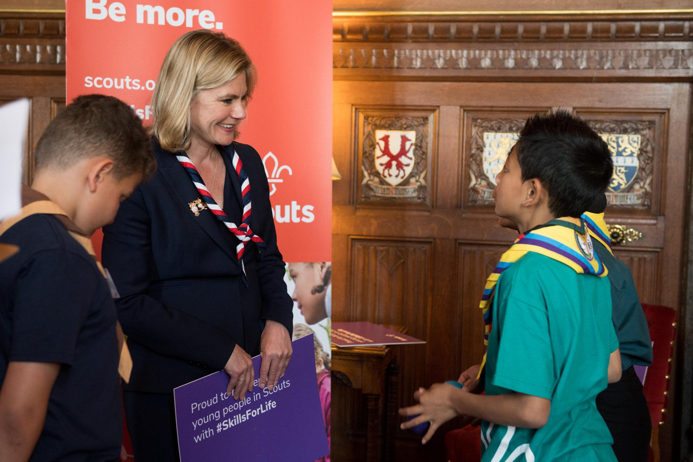 Justine Greening MP, with scouts at Parliament