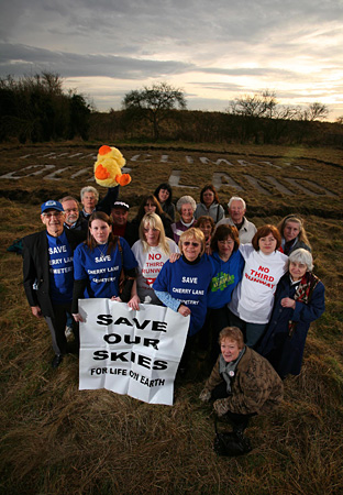 About 10,000 residents, MPs, activists and celebrities forked out to buy a plot of land earmarked for Heathrow's third runway. Picture: Greenpeace