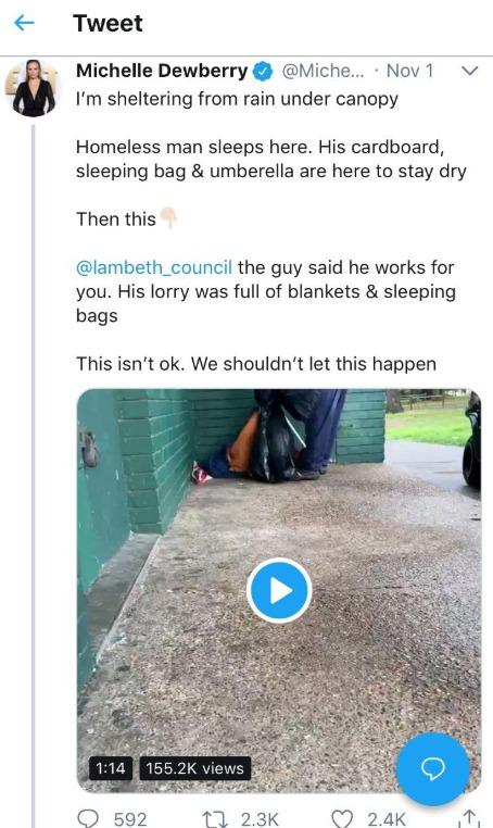 Apprentice star Michelle Dewberry uploaded a video of a Lambeth Council worker putting a rough sleeper's possessions in a rubbish bag.