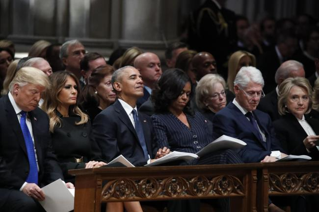 Donald Trump, Melania Trump, Barack Obama, Michelle Obama, Bill Clinton and Hillary Clinton at the state funeral for former president George HW Bush