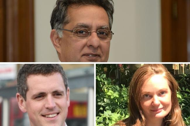 Council leader Ravi Govindia (Top), Labour leader Simon Hogg (bottom left) and Labour Councillor Emily Wintle (bottom right).